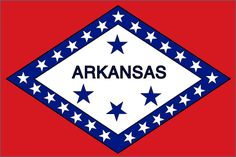 Arkansas State Flag~Designed by Ms. Willie K. Hocker of Wabbaseka, Arkansas and adopted in the Arkansas flag features 25 stars to show that Arkansas was the state admitted to the United States. Us States Flags, States And Capitals, U.s. States, United States, Razorback Canvas, Louisiana Purchase, Trail Of Tears, Arkansas Razorbacks, Arkansas Usa