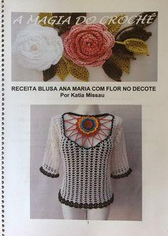Receita Blusa Ana Maria Flor no Decote em Pdf ou Impressa