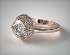 Vintage Engagement Setting in Rose Gold - Ring price excludes center diamond.
