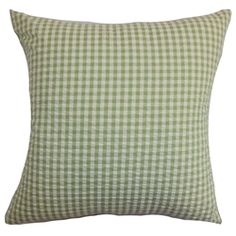 The green and white thin plaid pattern in this throw pillow gives a punch of color to your interiors. This square pillow is stylish and plush, which makes it a perfect statement piece to add in your living room, bedroom or lounge area. Mix and match this accent pillow with solids in complementary hues for a well-coordinated decor style. Made of 100% soft and cushy cotton fabric. $55.00  #plaid #green #pillows