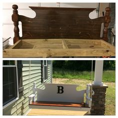 Headboard turned into a front porch swing!