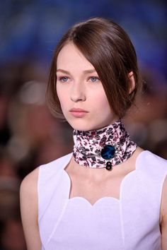 When The Choker & Neck Scarf Trends Collide #refinery29  http://www.refinery29.com/2015/10/95079/dior-choker-choker-fashion-week-spring-2016-runway-show#slide-5  ...