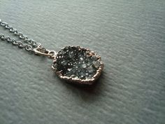 Black druzy charm necklace by girlsewcute