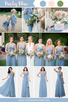 Dusty Blue Bridesmaid Dresses - Dusty blue bridesmaid dresses color inspiration(dusty blue, blush and green). styles, custom m - Dusty Blue Bridesmaid Dresses, Wedding Bridesmaids, Wedding Dresses, Dusty Blue Dress, Blue And Blush Wedding, Dusty Blue Weddings, Wedding Motifs, Making A Wedding Dress, Rose