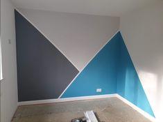 Boys Bedroom Paint, Kids Room Paint, Boys Bedroom Decor, Room Ideas Bedroom, Bedroom Wall Designs, Bedroom Wall Colors, Geometric Wall Paint, Geometric Art, Wall Paint Patterns