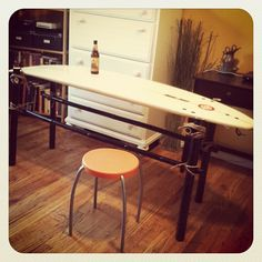 How To Make a Surfboard Table | YORK SURF Again, what a cool desk this would make!!