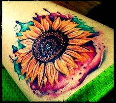 Watercolor:: Sunflower Tattoo Design:: Art Color.. So weird strolling through Pinterest and seeing your tat BUT ITS AWESOME KEEP UP THE LOVE!!!