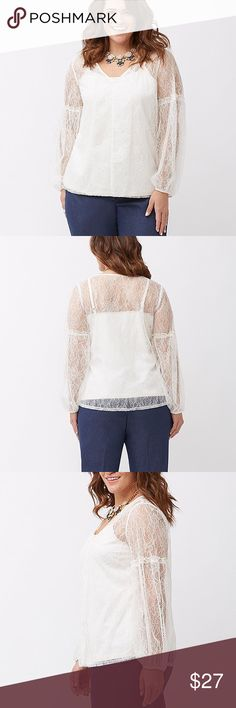 "Lane Bryant 💕 Sheer Ivory Lace Peasant Blouse Top This is a completely sheer lace top -- Please note that the model is wearing a cami underneath. Lots of possibilities for colors and styles to wear underneath! Size 18/20. NYLON / SPANDEX LENGTH: 29""  Sheer peasant top breathes romance into your wardrobe with all-over lace for ultra-feminine layering. Flattering V-neck and long sleeves with ruffle trim. Has ruffling detail down the front middle seam which is difficult to see on the model…"
