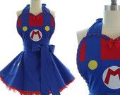 """Pin-Up Apron """"Supa Mario"""" -- Sexy in 80s Gamer Garb Full Cute Kitchen Apron"""