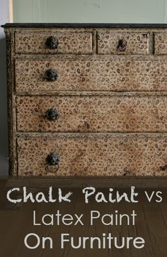 If you are debating whether or not to use chalk paint or regular latex paint on your next piece of furniture. Here are some of the highlights of the pros and cons of both to help you decide. Priming Chalk paint is basically a self primer that adheres well Paint Furniture, Furniture Projects, Furniture Makeover, Steel Furniture, Funky Furniture, Luxury Furniture, Office Furniture, Furniture Design, Latex