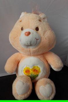 """Vintage 1983 American Greetings Care Bears Friend Bear Orange Yellow Flowers 13"""""""
