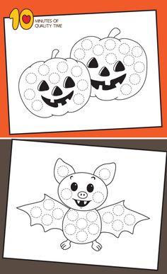 Halloween Do a Dot Printables Halloween Theme Preschool, Theme Halloween, Halloween Arts And Crafts, Halloween Crafts For Toddlers, Easy Halloween Decorations, First Halloween, Holidays Halloween, Halloween Kids, Do A Dot