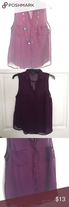 👚 ✨Sheer Button Down Blouse 👚✨ Excellent condition purple sheer tank top button down blouse. Perfect for day or night!! Great with slacks or jeans. Wet Seal Tops Button Down Shirts