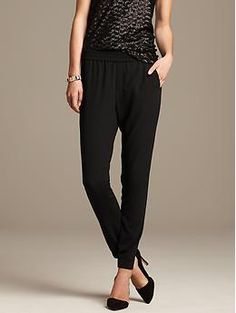 Bought these and I'm wearing today. LOVE. Black Drapey Pant They are machine washable. Yes!!!