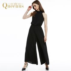 05b1e1ee5a02 Queenus 2017 Summer Women Jumpsuit Halter Sleeveless Wide Leg Elegant  Business Jumpsuits Black Pink Office Lady Women Romper