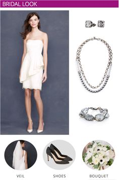 Chic City Hall Wedding Inspiration | Bridal Look - Add special accessories to a short dress to create a unique, personal look