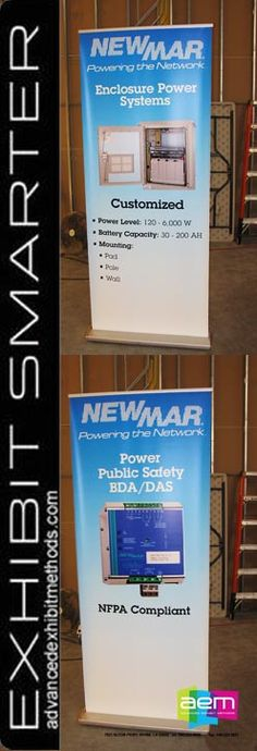 New interchangeable banner stand graphics for Newmar, using the hardware they own and interchangeable graphic cartridges, making the swapping of graphics, quick, easy and tool-less. Advanced Exhibit Methods 949-223-0000.