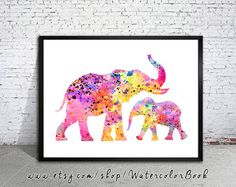 Mom and Baby Elephant Watercolor Print Fine Art от WatercolorBook