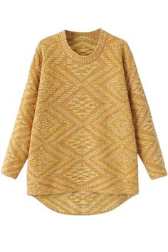Geometric Patterned High-Low Sweater