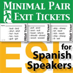 Minimal Pair Exit Tickets for Spanish Speakers comes with charts, assessment logs, and print files for 22 minimal pair activities. With this set you will have the resources to assess, test, and chart your students' English pronunciation.