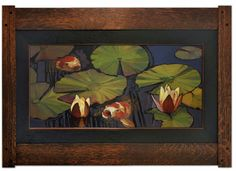 """Koi & Water Lilies - """"Please Can We Have Some More?"""" - Jan Schmuckal - Oil on solid copper no.26 - 12""""x 24"""" unframed - Dard Hunter Studios - Grove Park Inn Arts & Crafts Conference 2014"""