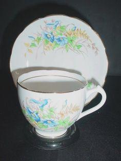 Duchess Blue Yellow Brown Floral Flowers Bone China Cup & Saucer Set England #Duchess
