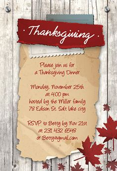 """Thanksgiving wood and leaves"" printable invitation. Customize, add text and photos. print for free! #Thanksgiving #invitation"