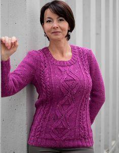 Бесплатные шаблоны Вязание - пуловер с кружевом алмазов и кабелей