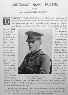Burnley Roll of Honour Lieutenant Frank Hudson
