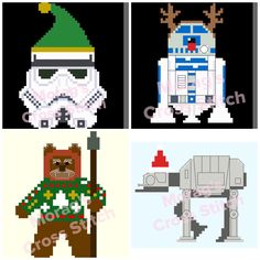 Christmas Bundle 4 Star Wars Cross Stitch Patterns R2D2 AT AT Ewok Stormtrooper by MoragsCrossStitch on Etsy
