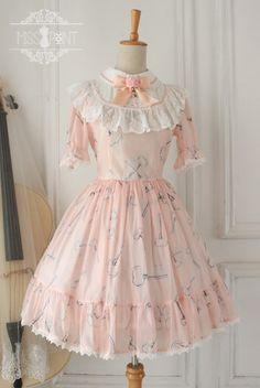 Peach Alice Key Print Sweet Lolita Dress with Round Collar