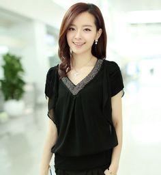 Buy Plus size M-XXXL Women Top Fashion Slim Women s blouses Chiffon Shirt  Short-sleeve Female V-neck Beaded Bat Sleeve Tops at Wish - Shopping Made  Fun 35d5a06e3ae5