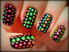 This would be fun to do (once I buy neon polish). Except I don't like the dots within dots- too nippily.