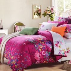Hot Pink White and Colorful Secret Garden Images Modern Chic Abstract Floral Print Full, Queen Size Bedding Sets