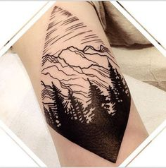 Here's another forest tattoo with a rocky mountain. It's the usual set up for forests and mountains and it could make you feel closer to nature even if it's simply a tattoo.