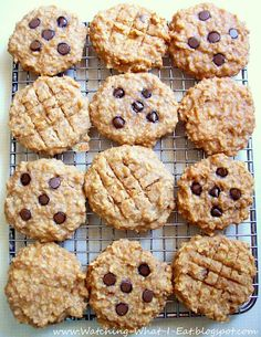 grab and go--PB oat breakfast cookies. High protein, no flour or processed sugar..(Ingredients: bananas, peanut butter, applesauce, vanilla, quick oatmeal, nuts, optional chocolate chips)