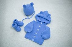 Baby set, knitted jacket, booties and hat, merino wool. MADE TO ORDER! Wool Yarn, Merino Wool, Knit Baby Booties, Baby Knitting, Knitted Baby, Knit Jacket, Cute Gifts, Handicraft, Lana