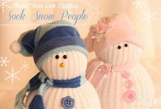 Bitz of Me: Meet My Snow People! No Sew - Snow people made with old socks and sweaters #HolidayIdeaExchange #holidays #crafts #snowmen #diy