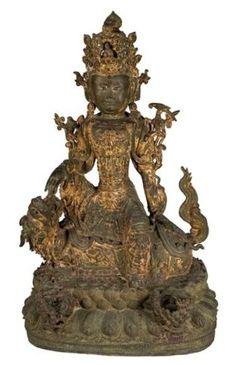 Important sujet en bronze anciennement laqué et doré représentant la déesse Guanyin, Chine, période Ming, XVIe