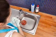 Plunge a sink with a flat-bottom plunger. If necessary, pour a little water in the sink to seal the plunger over the drain hole. Blocked Kitchen Sink, Blocked Sink, Toilet Drain, Bathroom Sink Drain, Kitchen Sinks, Bathroom Bath, Shower Drain Smell, Secret Hiding Places, Plumbing Problems