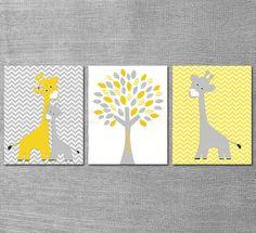 Yellow and grey Nursery Art Print Set 8x10 Kids by SugarInspire, $39.95