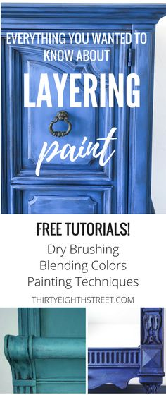 The Ultimate Guide For Layering Paint Colors on Furniture! FREE and easy furniture tutorials! Learn how to dry brush paint, blend paint color and layer paint on your furniture. Blending paint colors. Dry brushing paint. Painting Techniques. How To Paint Furniture. Painted Furniture Ideas. Blending Colors. Layering Paint on Furniture. Layering Paint Techniques. Layering Paint. Layering Paint Colors. Layering Paint on Wood. Painted Furniture. #thirtyeighthstreet #paintedfurniture