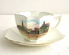 Vintage Shelley cup and saucer, Queen Anne shaped cup, East Street, Queensland…