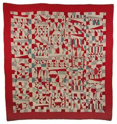 Antique cotton geometric crazy quilt, circa 1915-1925.  Seen at Nebraska History