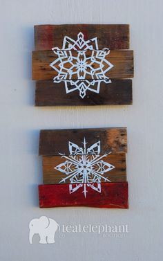 Pallet Art Holiday Snowflake Wall Hanging by TealElephantBoutique