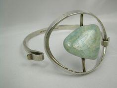 Bracelet   Tone Vigland. Sterling silver with Amazonite stone.  ca. 1960s, Norway.