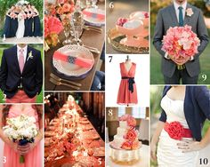 navy blue and grey wedding color | Navy and Coral Wedding Inspiration