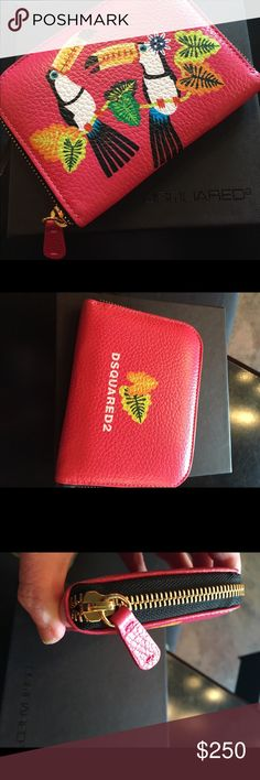 """DSquared2 pink leather Toucan zip around wallet Love this so adorable and special... comes new in box. I do not sell fakes ever do not waste your time on that. Measures 4c5.25"""". No trades price is firm offers not accepted DSQUARED Bags Wallets"""