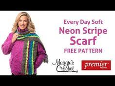 Deborah Norville Every Day Soft Yarn Neon Stripe Scarf Free Crochet Pattern - Right Handed