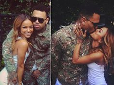 Chris Brown & Karrueche at his surprise party.